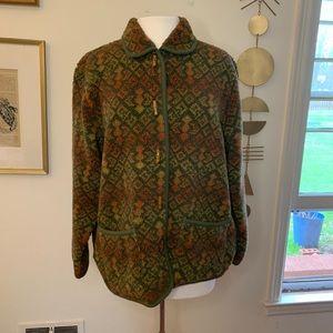 Orvis southwestern patterned fleece toggle jacket